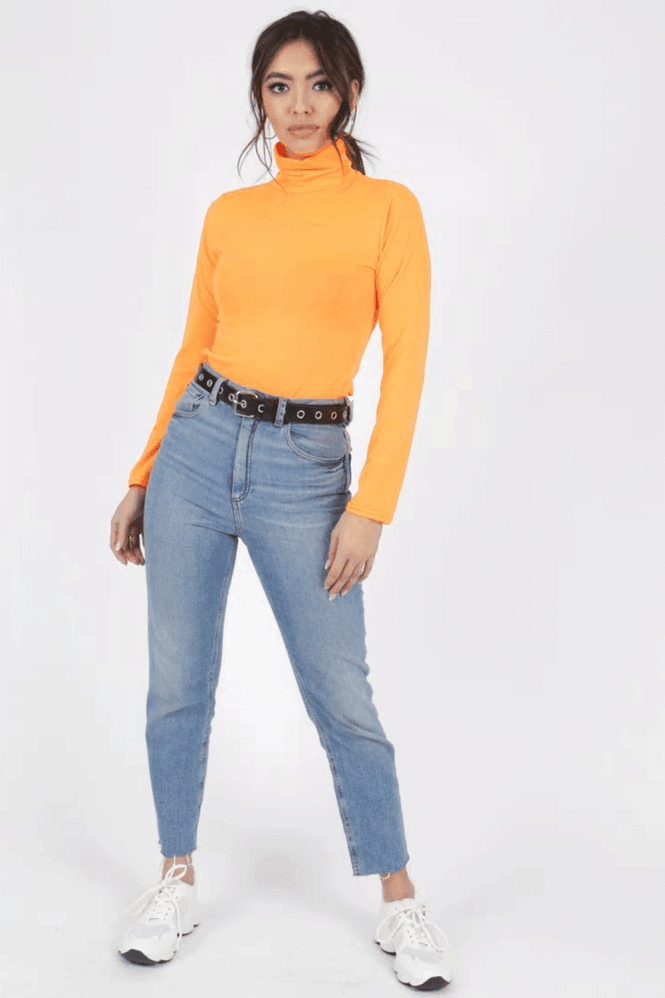 Ipso Neon Orange Polo-Neck Top