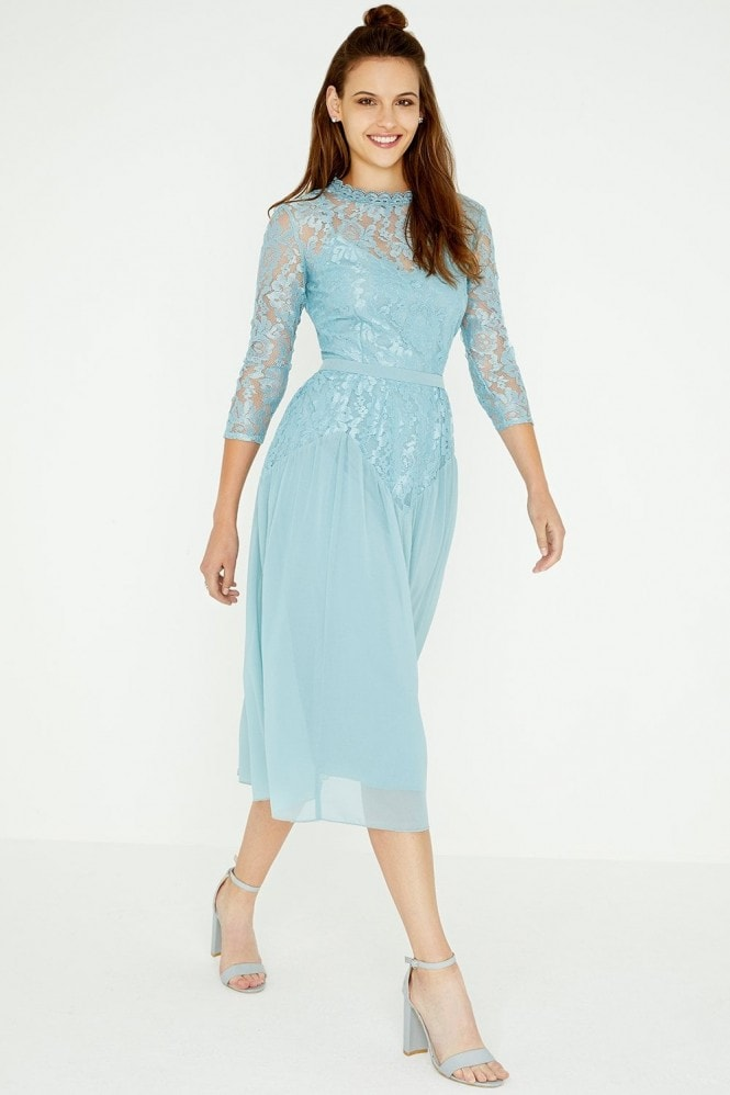 Little Mistress Clarita Blue Lace Midi Dress