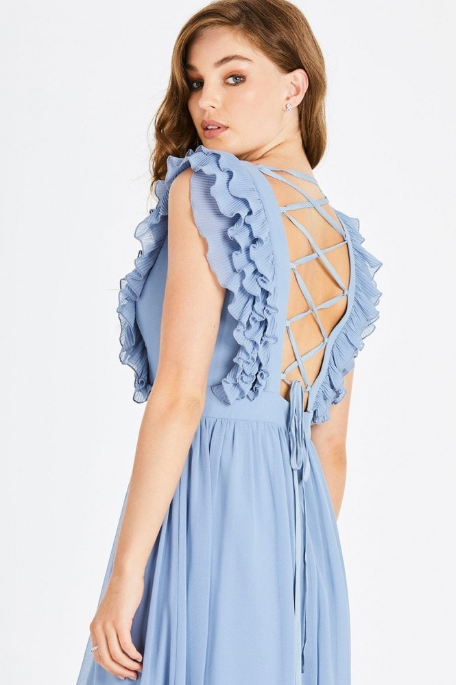 Little Mistress Amina Blue Plunge Frill Maxi Dress