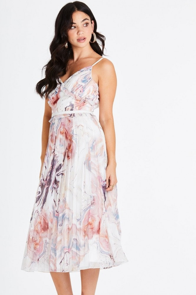 Little Mistress Lea Marble Cami Midi Dress