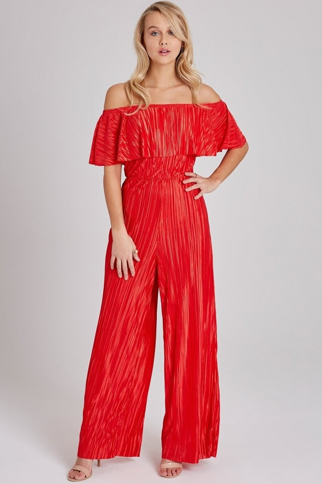 Wavelength Red Plisse Bardot Jumpsuit