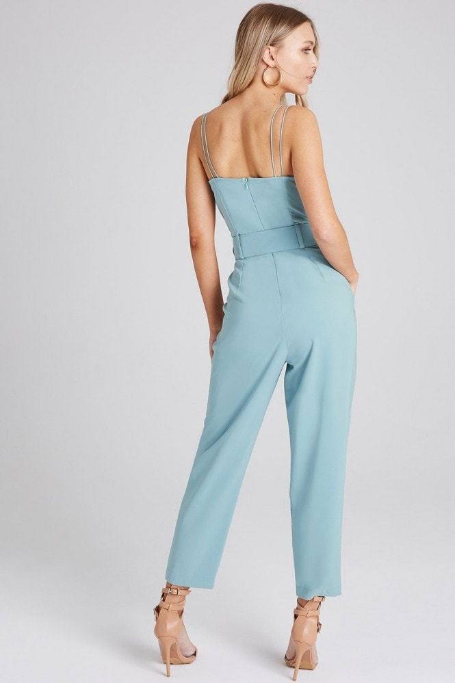 Girls on Film Carpenter Sage Strappy Jumpsuit