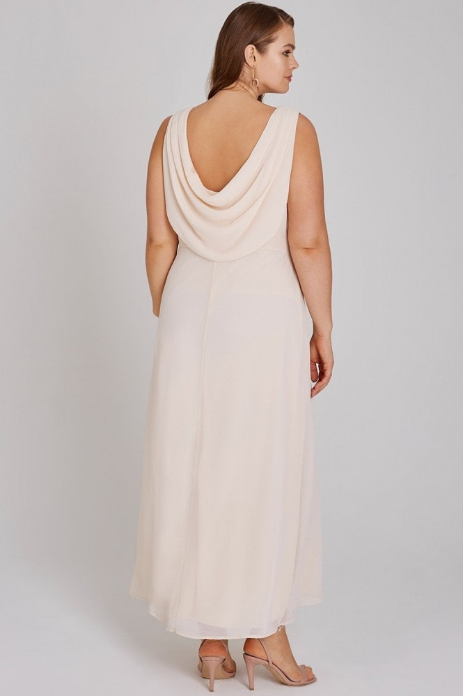 Little Mistress Curvy Nadine Blush Hand-Embellished Sequin Cowl Back Maxi Dress