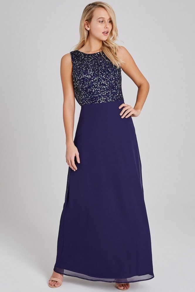 Little Mistress Luxury Nadine Navy Hand-Embellished Sequin Cowl Back Maxi Dress