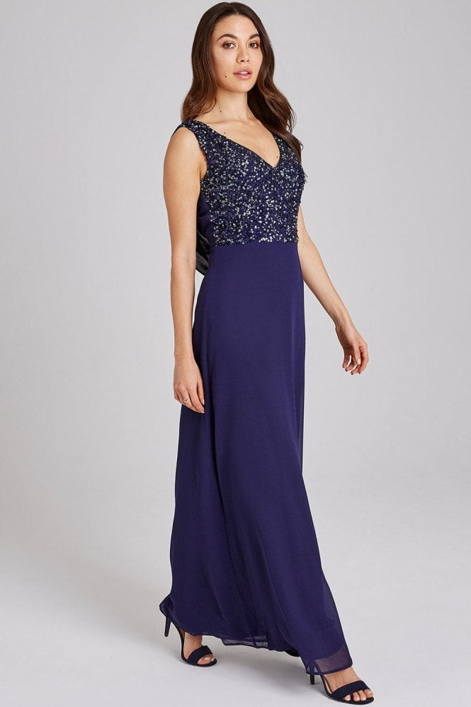 Little Mistress Luxury Ines Navy Hand-Embellished Sequin Maxi Dress