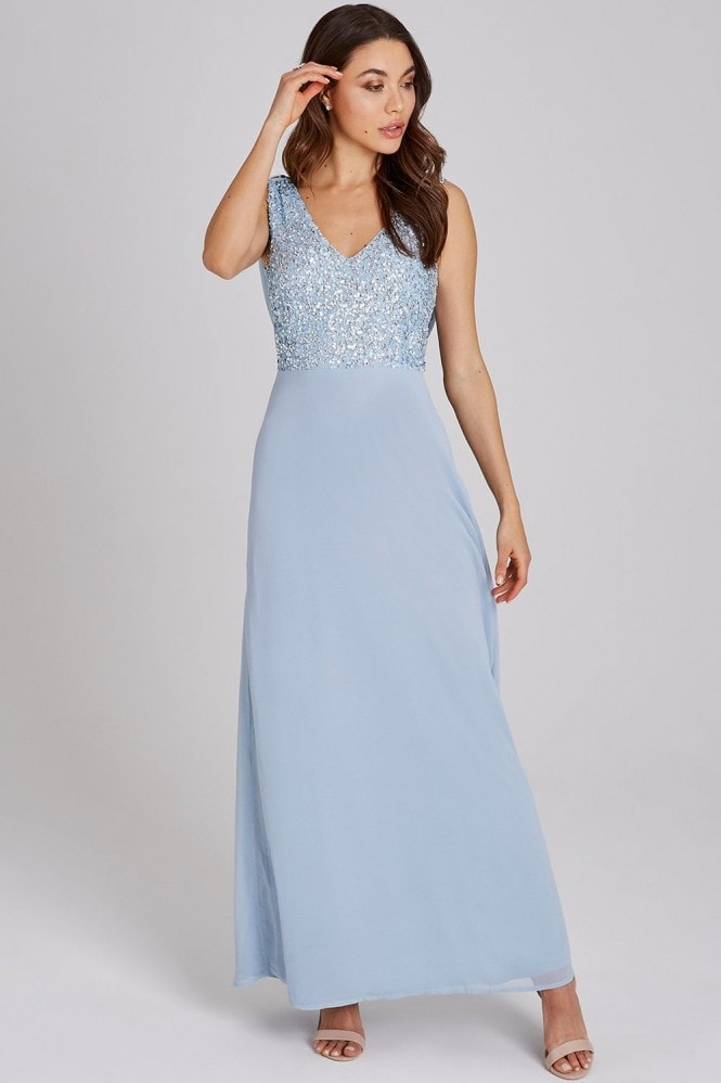 Little Mistress Luxury Ines Blue Hand-Embellished Sequin Maxi Dress