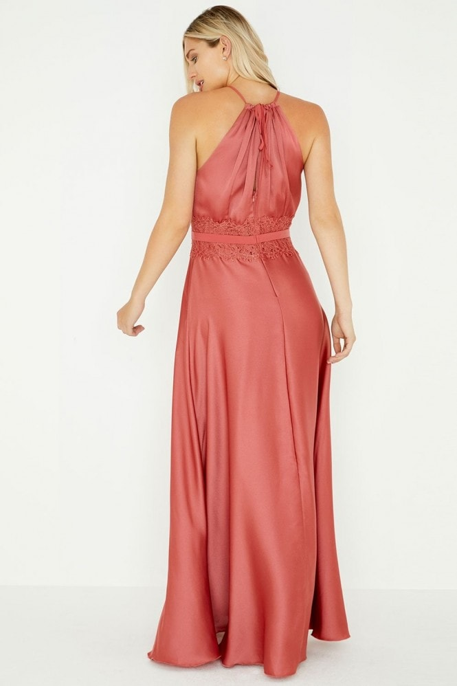 Little Mistress Kathy Terracotta Lace Satin Maxi Dress