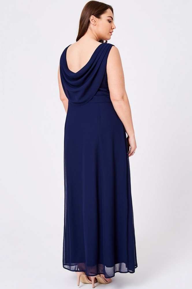 Little Mistress Curvy Luxury Nadine Navy Hand-Embellished Sequin Cowl Back Maxi Dress