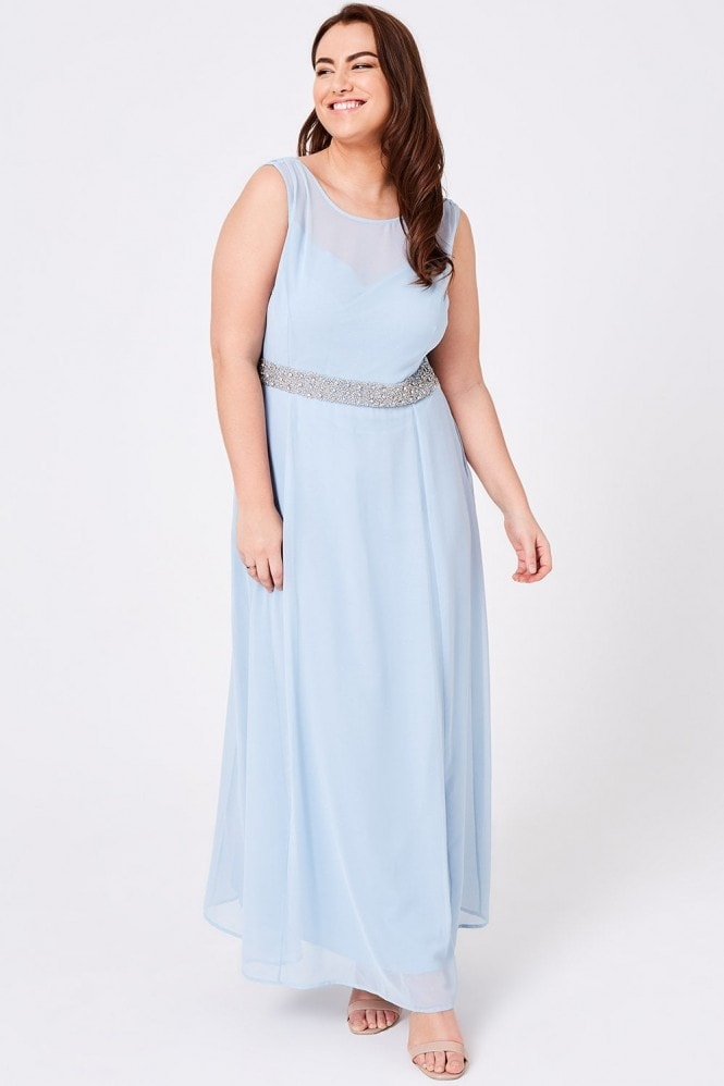 Little Mistress Curvy Luxury Nadine Blue Hand-Embellished Sequin Cowl Back Maxi Dress