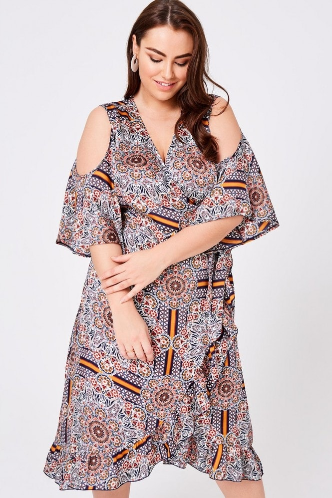 Girls On Film Curvy Calix Tile-Print Wrap Midi Dress