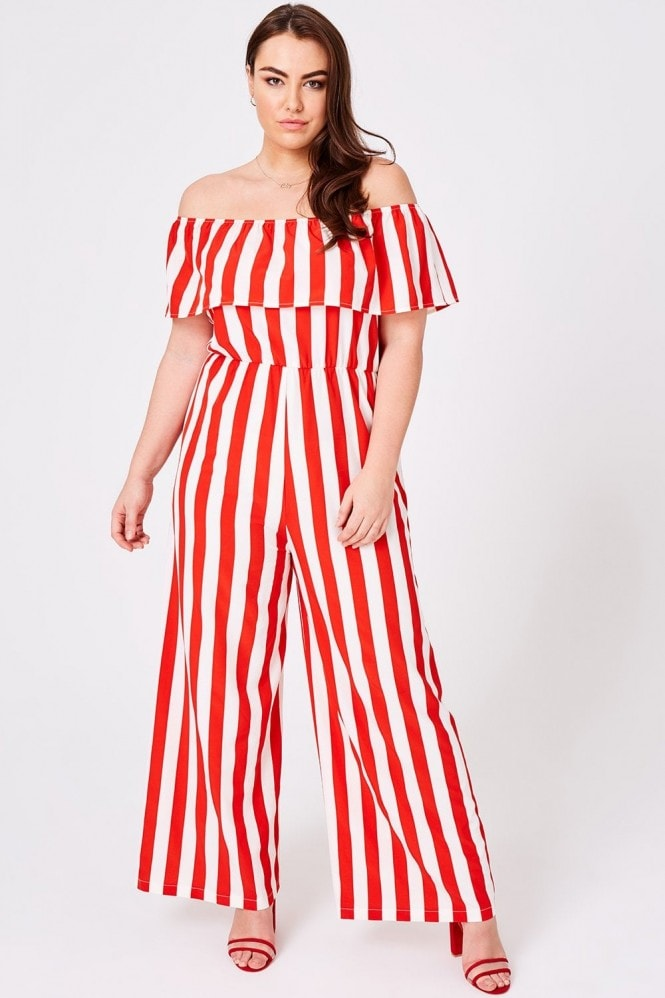 Girls On Film Curvy Cyrus Stripe Bardot Jumpsuit