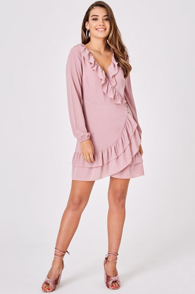 Outrageous Fortune Pink Frill Wrap Dress