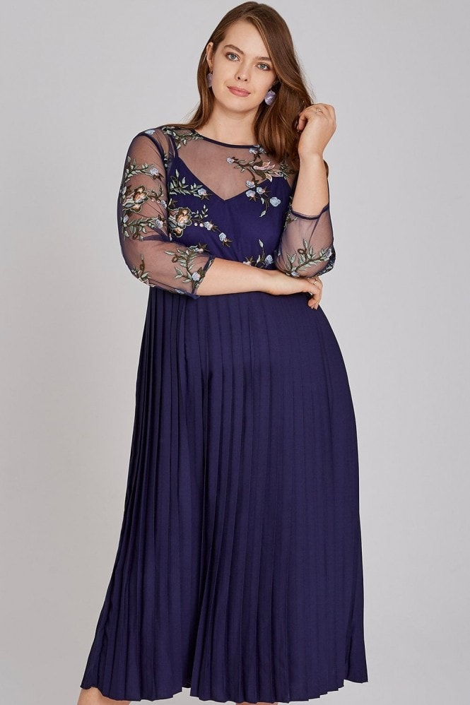 Little Mistress Curvy Maja Navy Floral Midaxi Pleat Dress