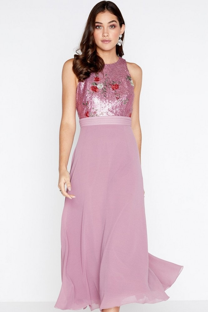 Little Mistress Lexi Embroidered Sequin Top Midaxi Dress