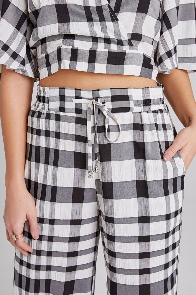Girls on Film Heath Check Palazzo Trousers Co-ord