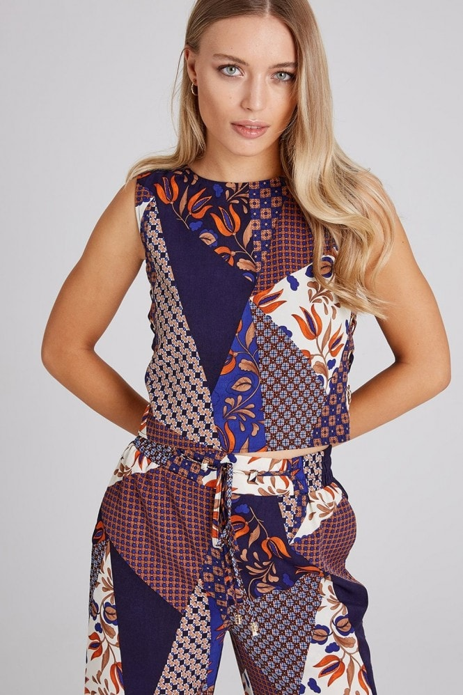 Girls on Film Iris Mixed-Print Lace-Up Top Co-ord