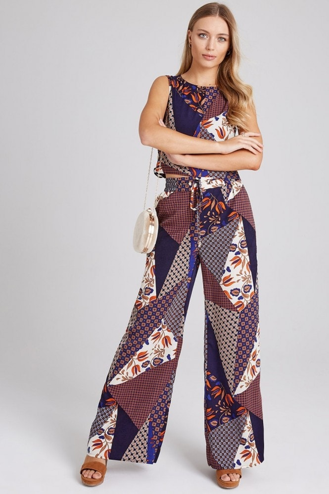 Girls on Film Iris Mixed-Print Trousers Co-ord