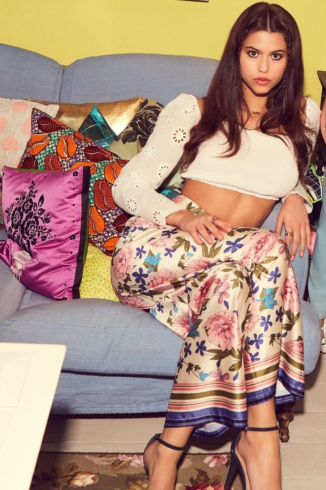 Girls on Film Azalea Floral-Print Wide-Leg Trousers