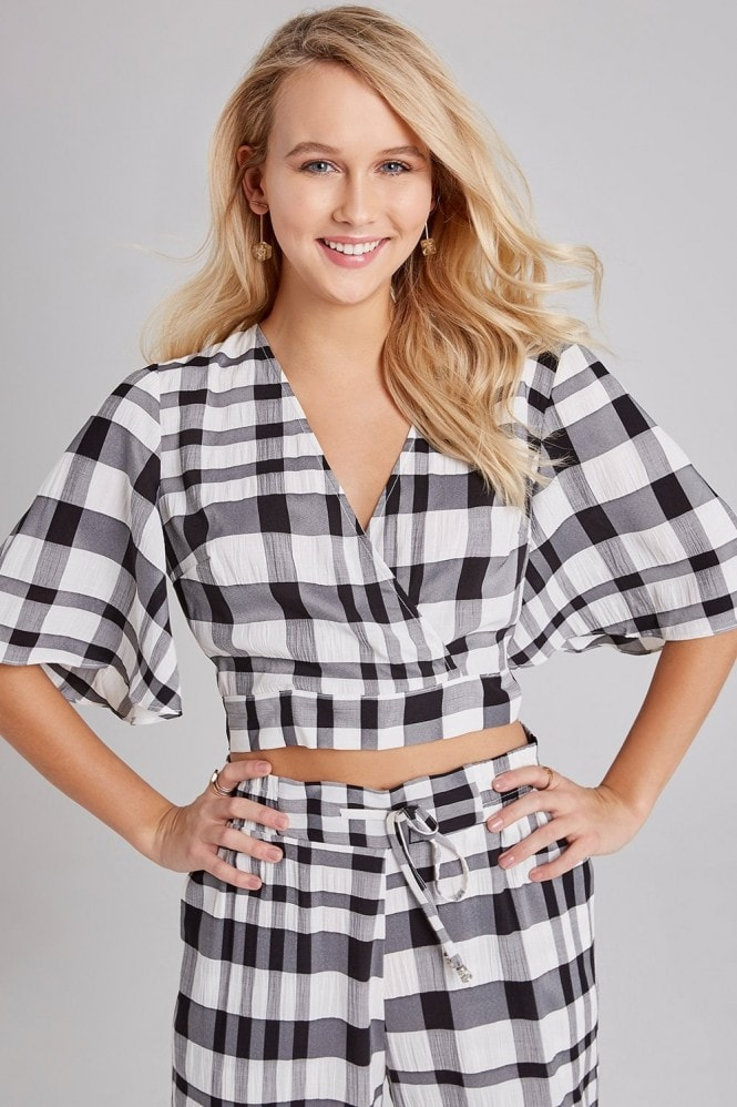 Girls on Film Heath Check Draped-Sleeve Top Co-ord