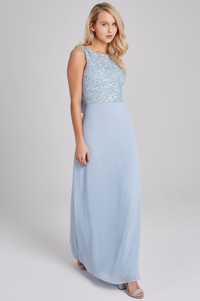 Little Mistress Luxury Nadine Blue Hand-Embellished Sequin Maxi Dress