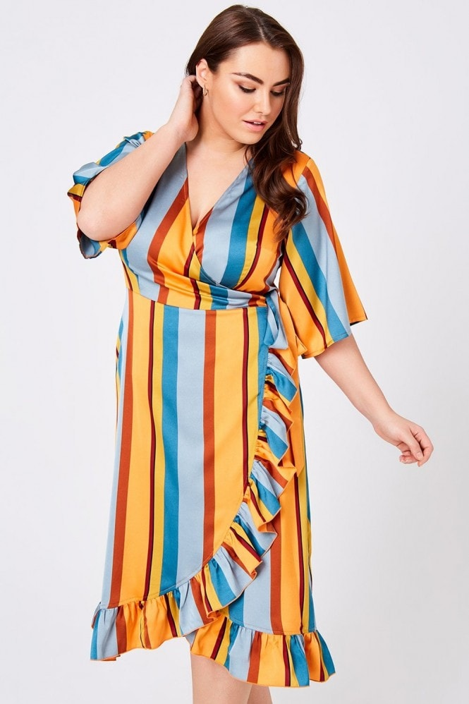 Girls On Film Curvy Cassis Stripe Wrap Midi Dress