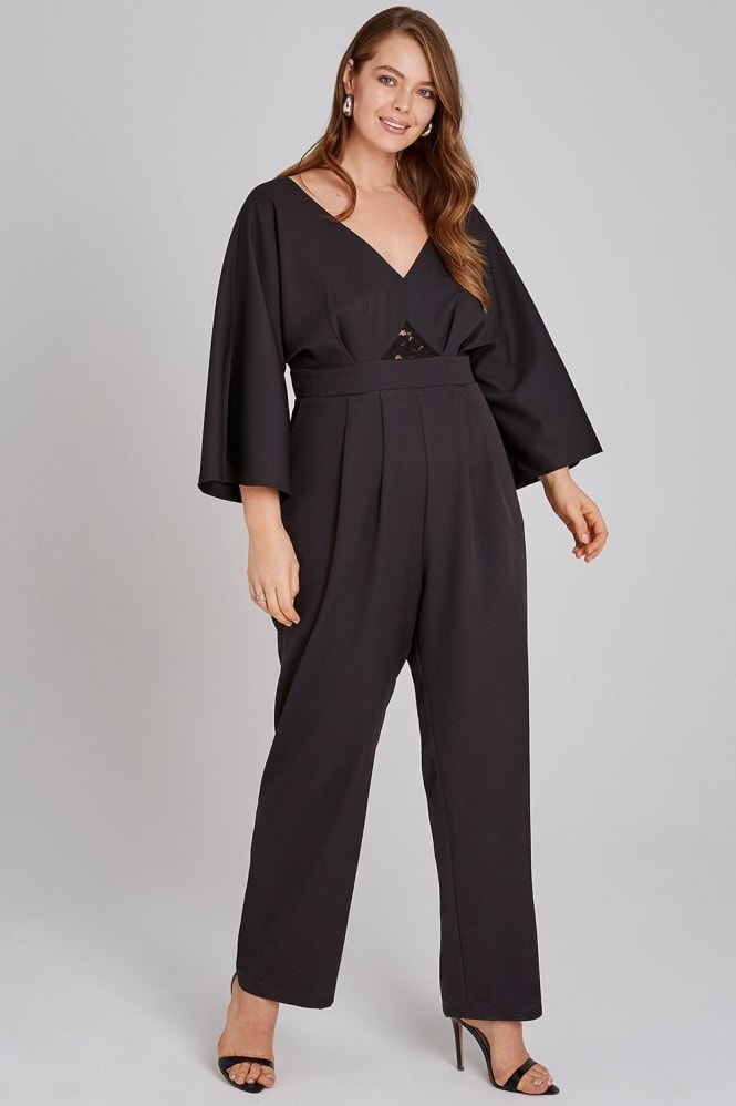 Girls on Film Black Lace Waist Jumpsuit