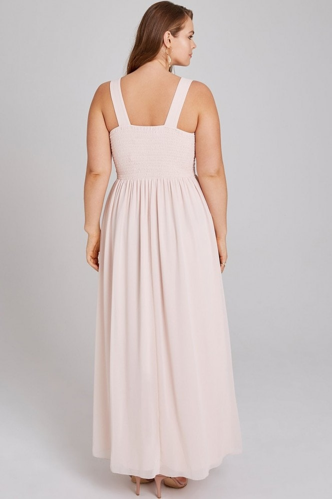 Little Mistress Curvy Cosette Nude Embroidery Maxi Dress