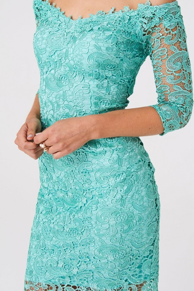Paper Dolls Wilton Mint Lace Bardot Dress