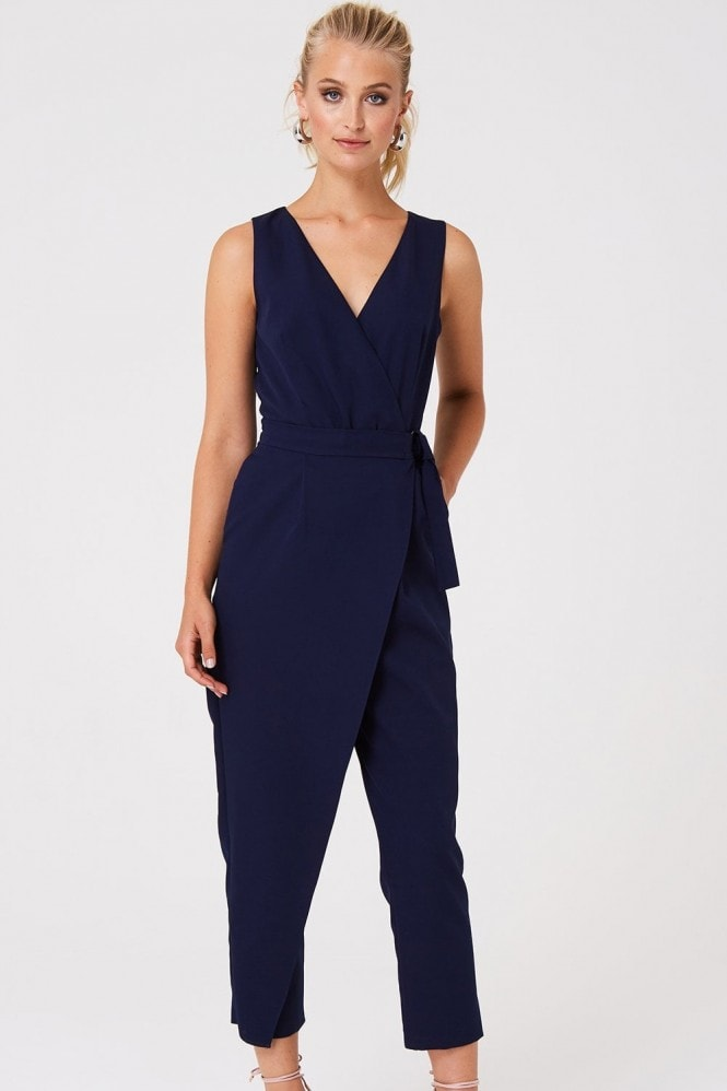 Paper Dolls Harley Navy Wrap Jumpsuit
