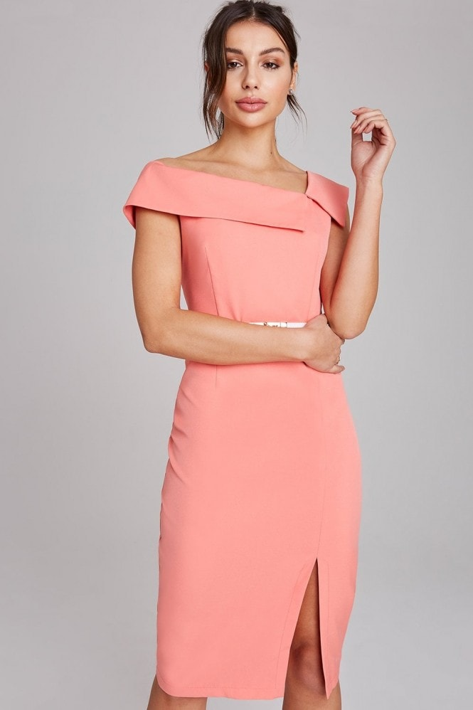 Mews Coral Midi Pencil Dress