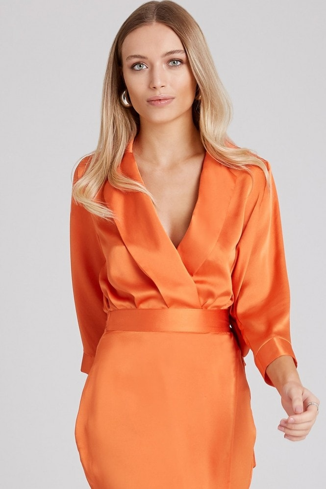 Girls on Film Myrtle Orange Satin Mock Wrap Bodysuit Co-ord