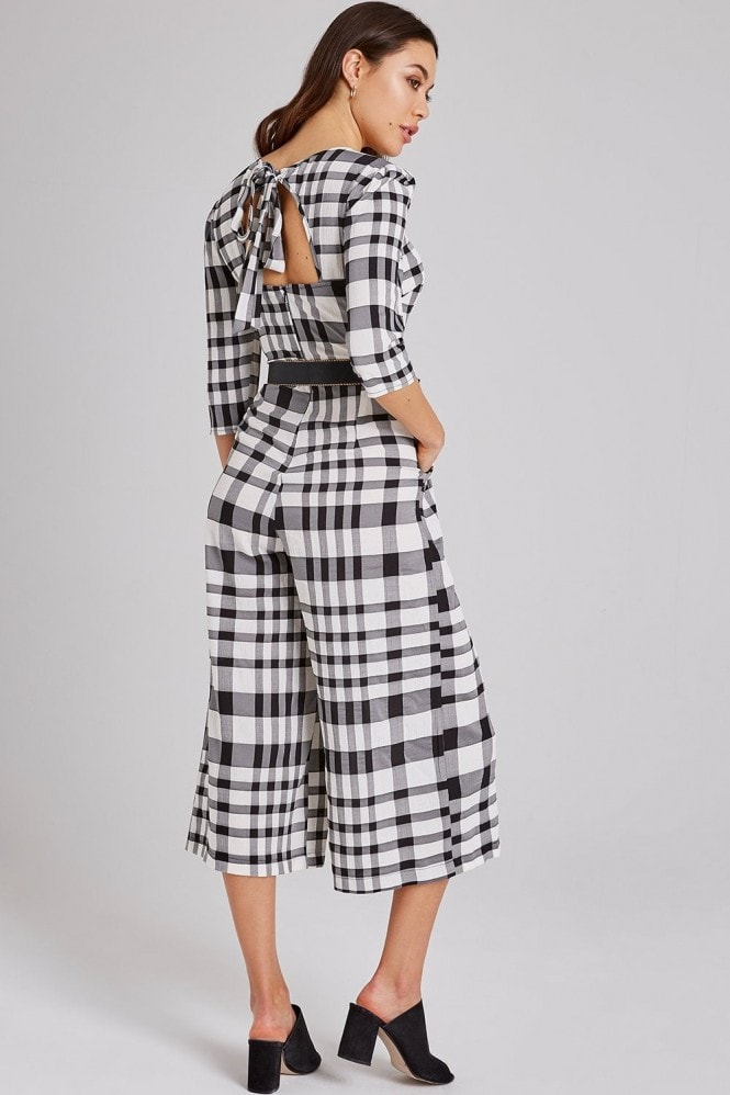 Girls on Film Sybill Monochrome Check Culotte Jumpsuit