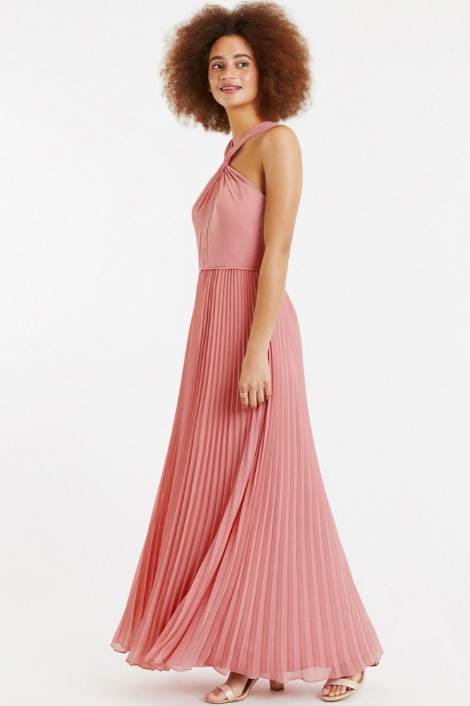 Oasis Pale Pink Twist-Neck Chiffon Pleated Maxi Dress