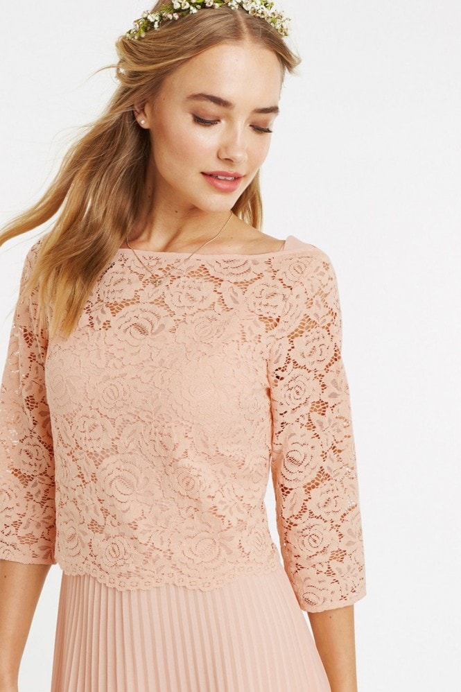 Oasis Dusty Pink Lace Top Midi Dress