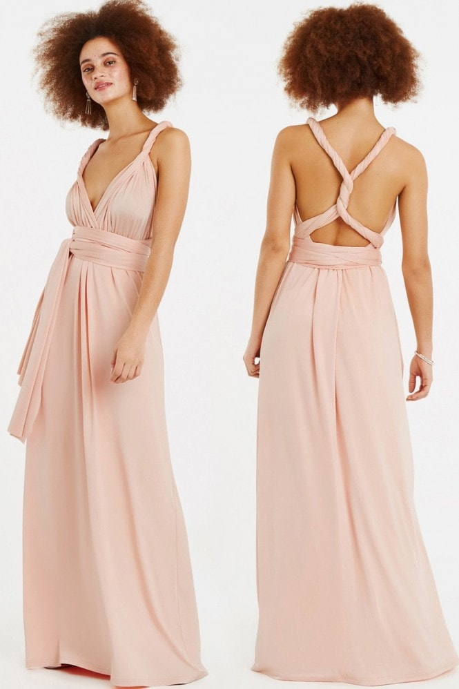 Oasis Wear It Your Way Dusty Pink Maxi Dress