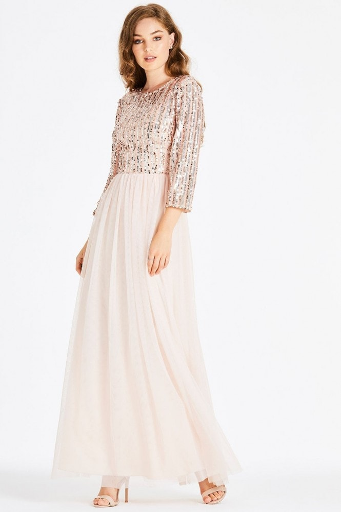 Little Mistress Jena Sequin Stripe Maxi Dress