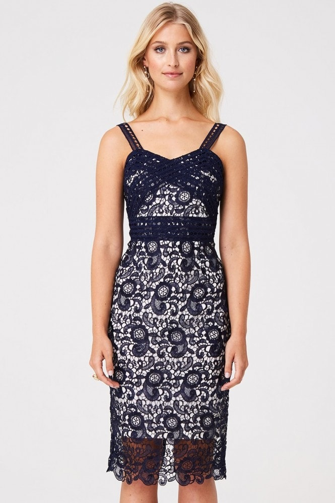 Paper Dolls Hanover Navy Contrast Lace Midi Dress