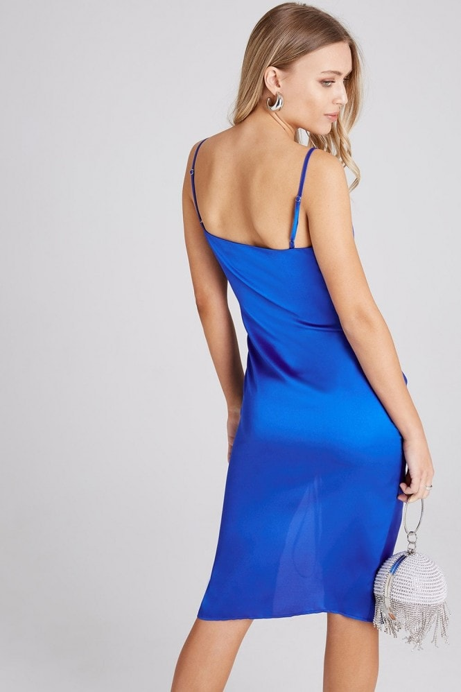 Girls on Film Jules Cobalt Satin Cowl-Neck Midi Dress