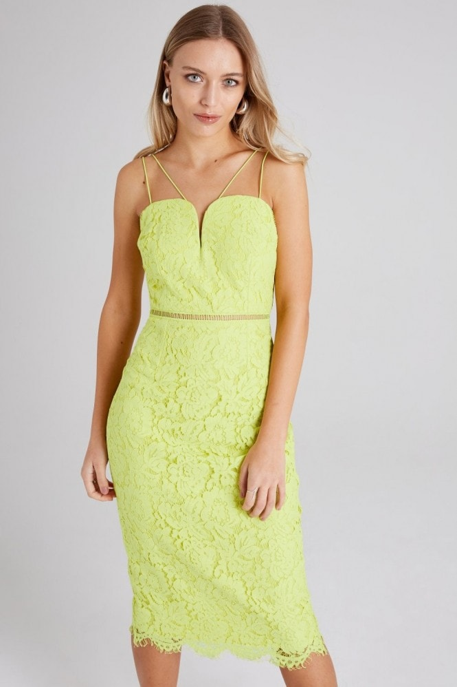 Girls on Film Midas Touch Lime Lace Midi Sweetheart Dress