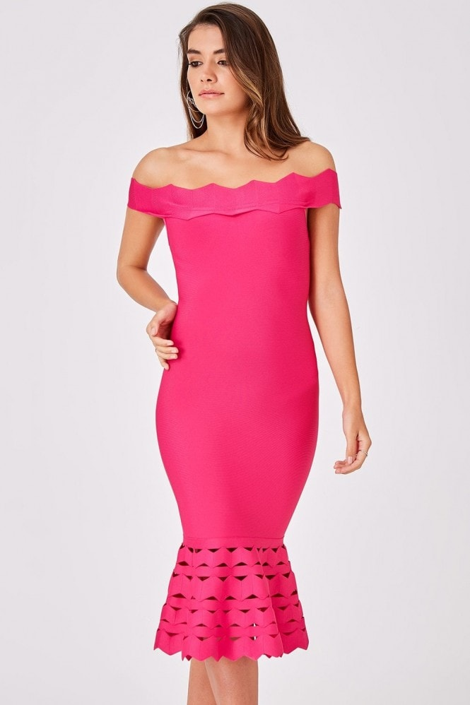 Little Mistress Isadora Pink Bandage Bardot Midi Dress