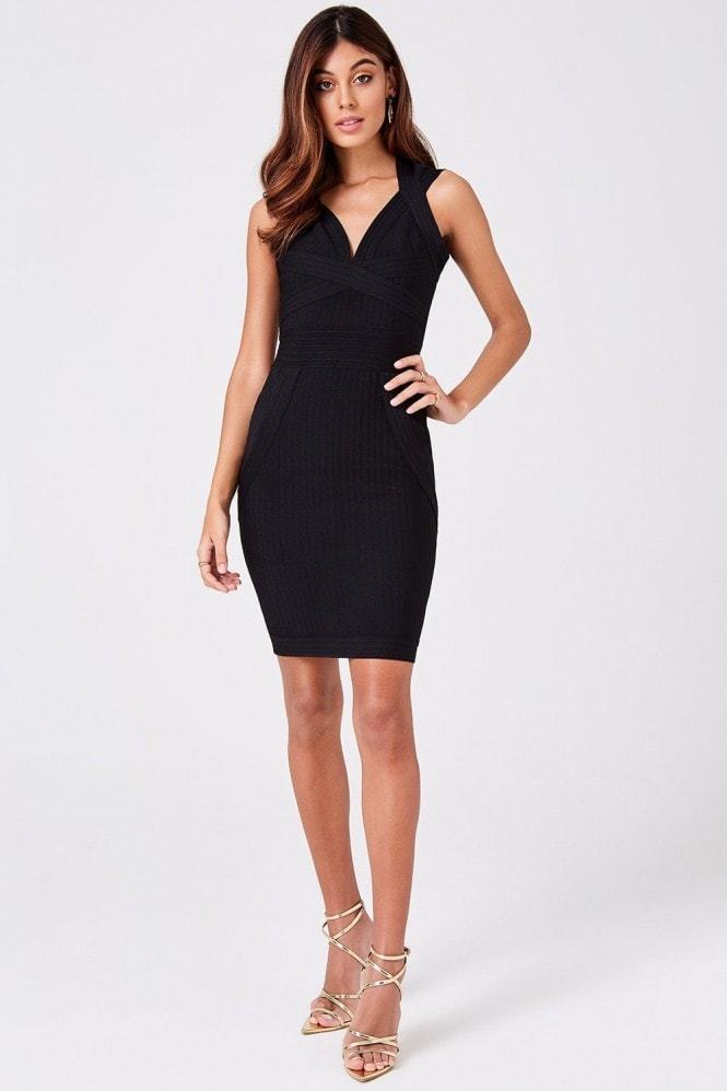 Little Mistress Gabriela Black Bandage Bodycon Dress