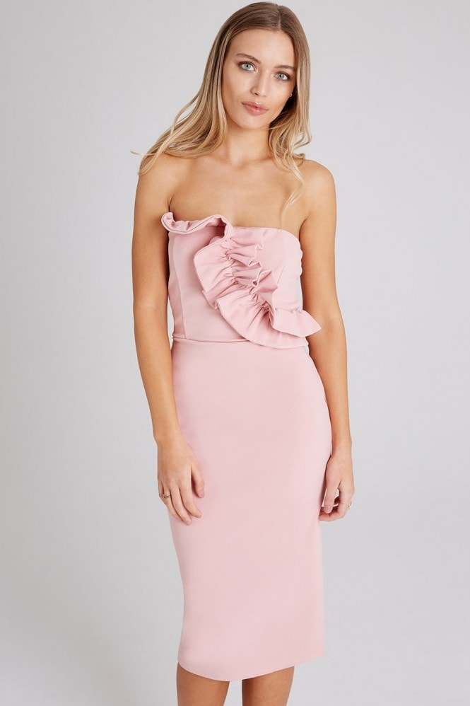 Girls on Film Halcyon Dusty Pink Frill Bandeau Dress