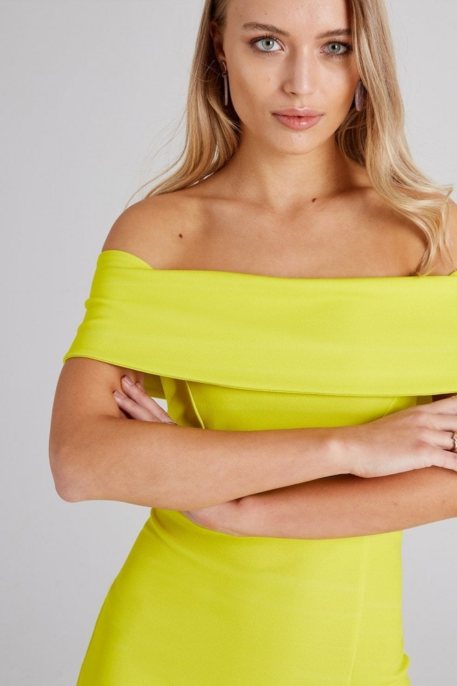 Girls on Film Alva Neon Lime Bardot Maxi Dress
