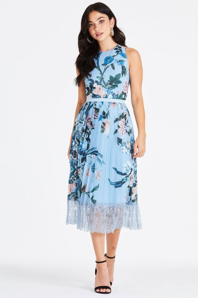 Little Mistress Rori Blue Floral Lace Midi Dress