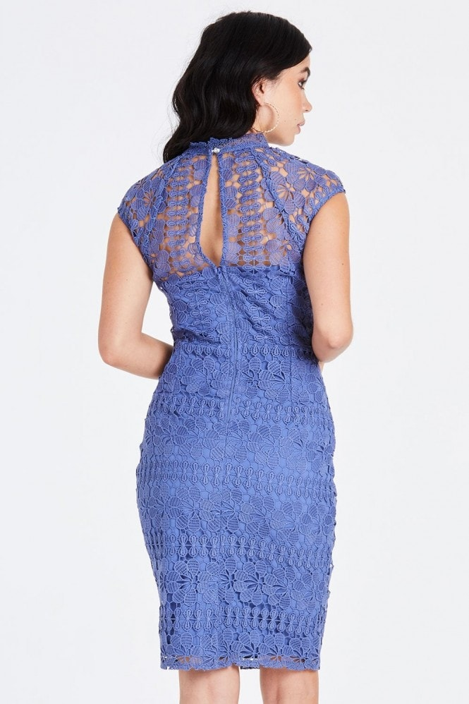 Little Mistress Tamsin Blue Crochet Pencil Dress