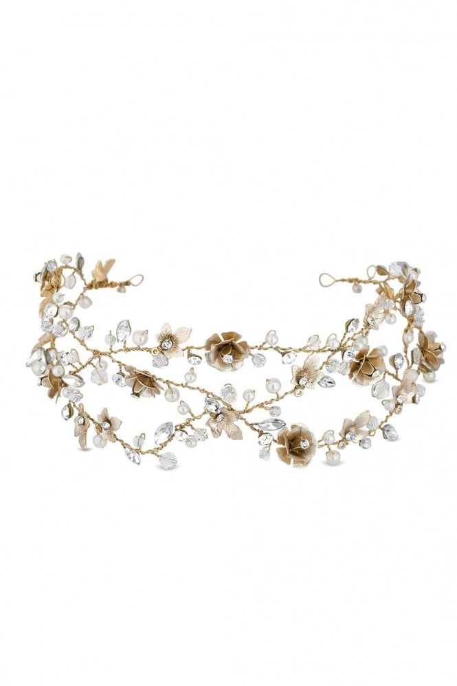 Jon Richard Jewellery Gold Plated Clear Crystal Floral Vine Hair