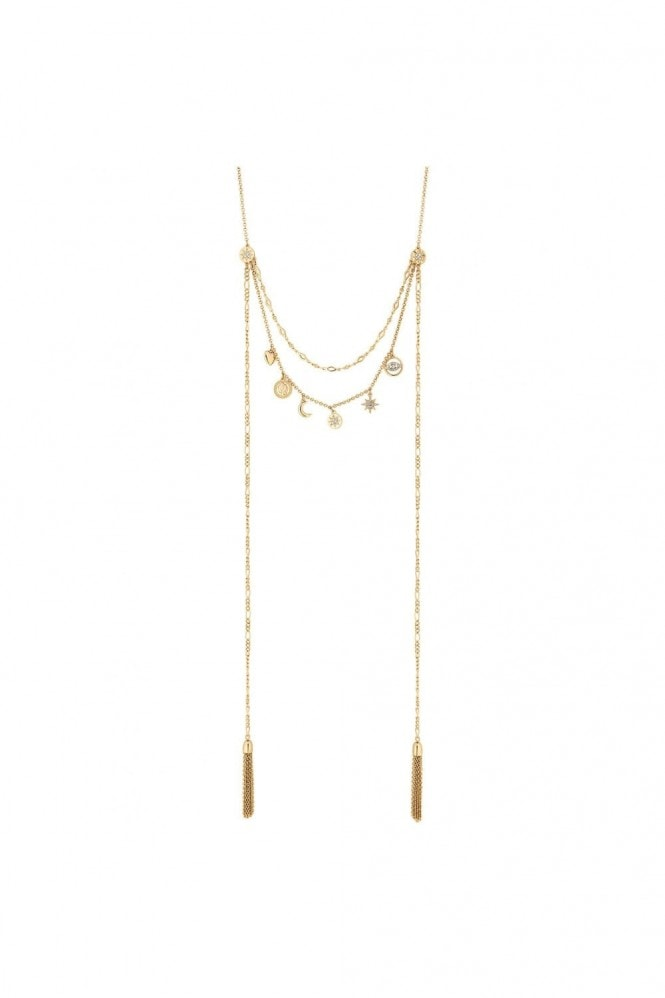 Jon Richard Jewellery Gold Plated Clear Celestial Multi-Row Necklace