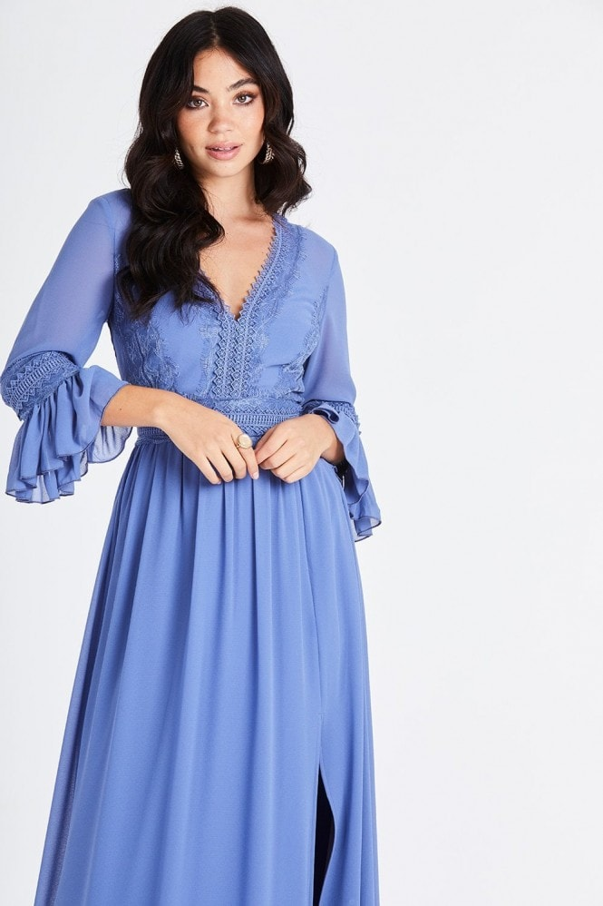 Little Mistress Tamsin Blue Plunge Midaxi Dress