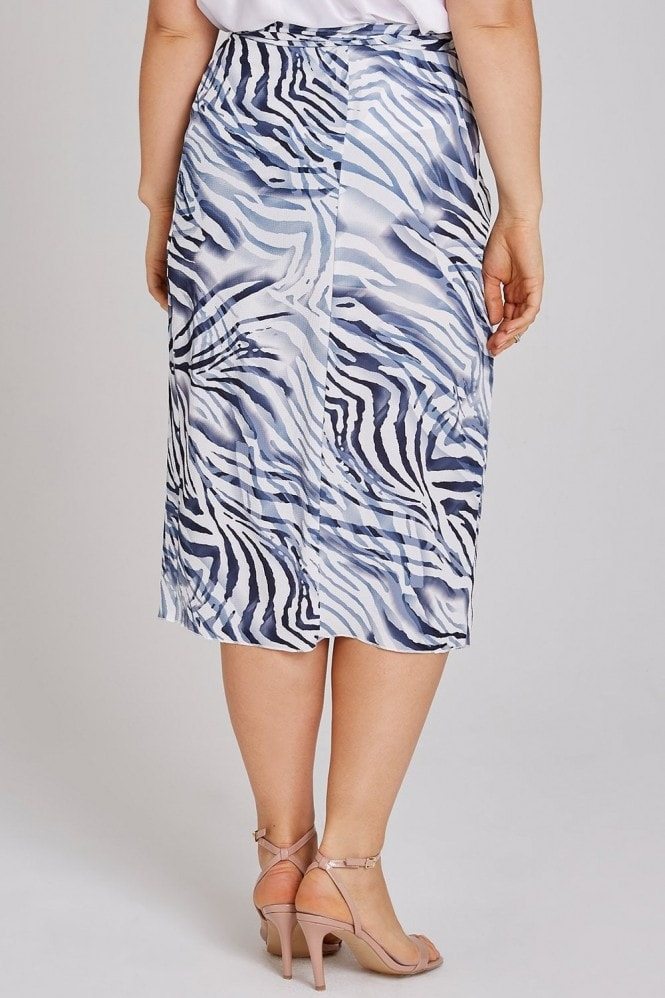Girls On Film Curvy Haden Blue Zebra Wrap Midi Skirt