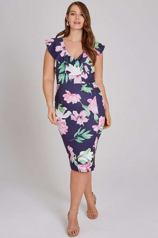 Girls On Film Curvy Saba Navy Floral-Print Frill Midi Dress